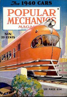 """Railroad Engineer Magazine: The 1940 Cars"" Print (Black Framed Poster Print Train Posters, Railway Posters, Science Magazine, Magazine Art, Magazine Covers, Tarzan, Train Art, Pulp, Popular Mechanics"