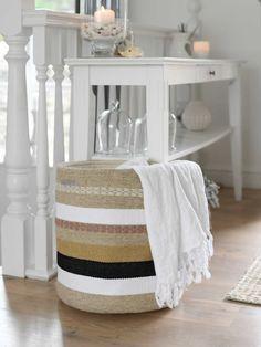 Striped Woven Basket | Woven Striped Basket | Nordic House