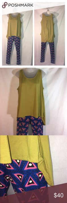 Lularoe TC leggings + NWT green top Both items are brand new with tags. Top, full length: 33 1/2, bust: 20, waist: 25.  Sorry no lower prices, 20% taken in fees.  *ship same/next day *no holds/trades *pet free *smoke free home LuLaRoe Pants Leggings