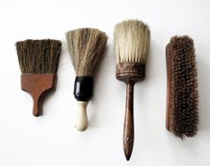 vintage barber brushes // antique set of four rustic brushes with patina. Etsy.