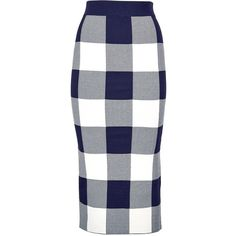 Whistles Gingham Knit Skirt (19290 ALL) ❤ liked on Polyvore featuring skirts, stretch skirt, high waisted knee length skirt, high-waisted skirts, gingham skirt and stretchy skirt