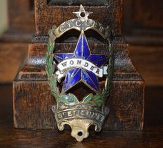 Antique French Enamel Bicycle Headbadge Wonder Cycles Head Badge St Etienne Brass Plaque