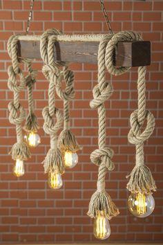 Rustic Lighting LED Bulbs Edison Chandelier- Industrial Rope Light- Wood Ceiling Chandelier- Light F Decor, Rustic Lighting, Wood Light, Wood Ceilings, Rustic Decor, Rustic Chandelier, Rustic Interiors, Rustic House, Rope Light