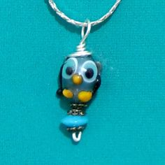 handmade pendant lampwork blue owl on chain bobs flame beads