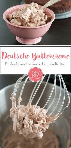 Mit diesem einfachen Buttercreme-Rezept geht ganz bestimmt nichts schief! Buttercreme ist ja für viele Torten und Cupcakes ungeheuer wichtig, sei es als Füllung, als Überzug oder als Frosting. Deutsche Buttercreme ist vielfältig, wunderbar cremig und üppig. #buttercreme #grundrezept # pudding #deutschebuttercreme #torte #cupcake #backenmachtgluecklich Pudding Cupcakes, Pudding Cake, Cheesecake Cupcakes, Pudding Pies, Pudding Shots, Beef Pies, Mince Pies, Cupcakes Amor, Cupcake Cakes