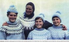 Swedish actress Ingrid Bergmann with childeren in 1963, wearing sweaters from Unn Søiland. Ingrid Bergmann is wearing FINNMARK, and the children Roberto, Isotta and Isabella in versions of ESKIMO.This photo is a private picture Ingrid Bergman sent Unn Søiland to thank her for the sweaters.
