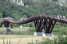 "Holzbrücke / Bridge made of wood One of the largest wooden bridges of Europe. It crosses the river ""Altmühl"" near Essing in Bavaria(Germany)."
