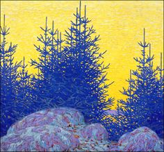 """Lawren S. Harris - """"Yellow Sky, Blue Spruce"""", oil on canvas, Canadian Group of Seven Canadian Painters, Canadian Artists, Kandinsky, Monet, Group Of Seven, Yellow Sky, Blue Spruce, Winter Painting, Mystique"""