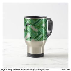 You don't have to give up style for the function of a top-notch travel mug. The Sage & Ivory Travel/Commuter Mug designed by Artist C.L. Brown features abstract kinetic light painting edited for design for an elegant, modern look in shades of verdant sage greens paired with ivory that you'll love. Zazzle's commuter mugs feature a rubber-lined lid for a tight, spill-resistant seal, twist the lid to reveal the sip opening! Double-walled stainless steel helps will keep your drink of choice…