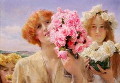SUMMER OFFERING (1911) by Lawrence Alma-Tadema | Oil on canvas | 55.88 x 40.64 cm | Brigham Young University Museum of Art, UT, USA