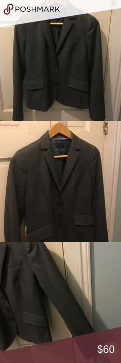 Women's J. Crew wool blazer heather grey size 2 Nice blazer size 2 width 17 inches height 23 inches sleeves are 23 inches long 100% wool and 100% polyester lining thanks for shopping! J. Crew Jackets & Coats Blazers