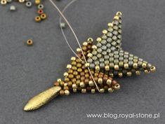Dracconis – smocze kolczyki – tutorial   Royal-Stone blog Handmade Beaded Jewelry, Beaded Jewelry Patterns, Beading Patterns, Bead Earrings, Beaded Necklace, Beaded Bracelets, Beaded Brooch, Bead Jewellery, Make Jewelry