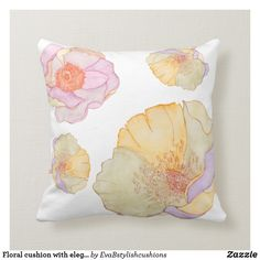 Shop Floral cushion with elegant style created by EvaBstylishcushions. Floral Cushions, Living Room Bedroom, Watercolor Illustration, Paintings, Throw Pillows, Elegant, Interior, Gifts, Design