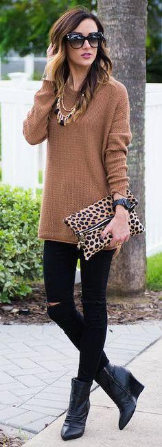 Camel Sweater + Leopard Details