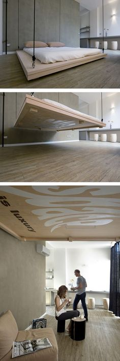 A bed disappears in the ceiling ready to give the space necessary for daylight activities.