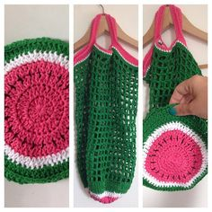 Melon Bag By Martine de Regt - Free Crochet Pattern - (beesandappletrees.blogspot)