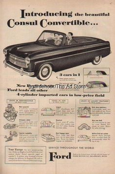 1954 Introducing English Built Ford Consul Convertible Vintage 50s Car Print Ad