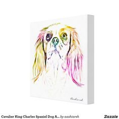 #Cavalier King Charles Spaniel #Dog #Art #Painting #Canvas #Print #animal #colorful #homedecor #decor