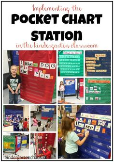 The Pocket Chart Station is a must in the kindergarten classroom! There are so many ways for students to practice the various ELA skills that you teach. Kindergarten Literacy Stations, Kindergarten Language Arts, Kindergarten Writing, Preschool Classroom, Kindergarten Classroom, Literacy Centers, Classroom Ideas, Classroom Organization, Classroom Charts