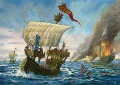 Damme, 1213, 500 barcos ingleses sorprenden en el estuario de Zwyn (cerca de Brujas) a una flota francesa de 1.700 barcos bajo el mando de Felipe II, destruyendo 300 y capturando un centenar, junto a un cuantioso botín. Cortesía de Cortesía de Dariuz Bufnal. Más en www.elgrancapitan.org/foro