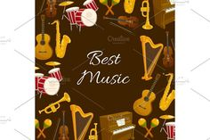 Music poster with musical instrument round frame by Vector Tradition SM on @creativemarket