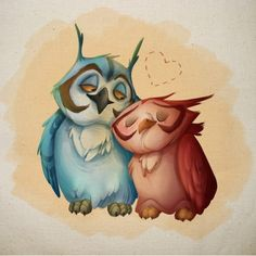 <3 Owls in love...cuuuuute <3