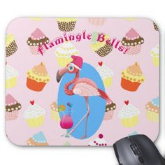 #Pink Flamingo Christmas Cocktails and Cupcakes Mouse Pad - #office #gifts #giftideas #business