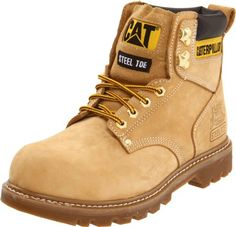 Caterpillar Second Shift - Steel Toe - electrical hazard slip resistant steel toe - work boot - Honey Nubuck Most Comfortable Work Boots, Industrial Workwear, Caterpillar Boots, Caterpillar Equipment, Men's Shoes, Shoe Boots, Good Work Boots, Steel Toe Work Boots, Men With Street Style