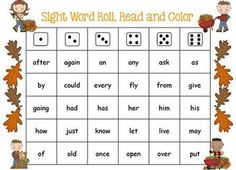 "Fall/Leaves Theme ""Roll, Read, Cover"" Sight Word Game (free; from G1 Teacher)"