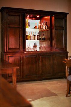 Etonnant Hampton 8 Door Liquor Cabinet    French Oak   Retractable Cabinet Doors     Glass Shelves W/ LED Lighting