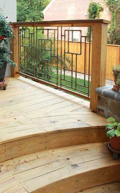 32 DIY Deck Railing Ideas & Designs That Are Sure to Inspire You - Deck Railing Ideas - Garden Deck Wood Deck Railing, Garden Railings, Deck Railing Design, Garden Gates, Balcony Railing, Deck Design, Outdoor Railings, Garden Doors, Diy Trellis