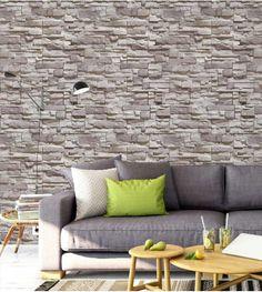 Papel de parede estilo pedras canjiquinhas em tons de cinza e gelo, com detalhes em marrom claro.