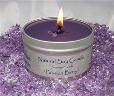 'Passion Berry' Scented Eco Friendly Soy Candle, Hand Poured in 8 Ounce Tin, 100% USA Grown Soy. $11.99, Also available on Amazon!