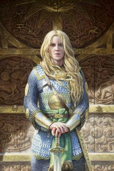 Tall ships and tall kings Three times three.R Tolkien Fantasy Characters, Female Characters, Fantasy Figures, Shield Maiden, Fantasy Warrior, Fantasy Rpg, Character Portraits, Lord Of The Rings, Lord Rings