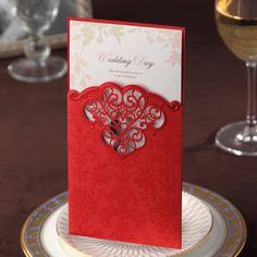 invitacion de boda estilo  vintage, color rojo, craquelada