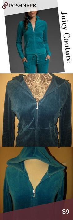 JUICY COUTURE TEAL BLUE VELOUR JACKET HOODIE JUICY COUTURE TEAL BLUE VELOUR JACKET HOODIE HOODED M  MEASURES ABOUT 18 INCHES UNDERARM TO UNDERARM   MEASURES ABOUT 20 INCHES TOP SHOULDER TO BOTTOM HEM     80%COTTON 20%POLYESTER Juicy Couture Jackets & Coats