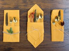 how to fold napkins for a fall table or thanksgiving table using yellow napkins Thanksgiving just wouldn't be the same without a warm house filled with loved ones and good food. Gathering around a table together to catch-up, tell jokes, and Thanksgiving Tafel, Thanksgiving Napkin Folds, Thanksgiving Decorations, Paper Napkin Folding, Christmas Tree Napkins, Diy Christmas, Autumn Table, Deco Table, Cloth Napkins