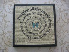 Imagine Song Lyric In Spiral Art Block  The by TexasGirlDesigns, $22.50