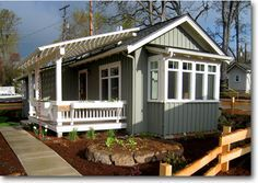 The Perfect Small Cottage: Lisette Cottage [625 sq ft] from Ross Chapin Architects - I love the sage green exterior color.
