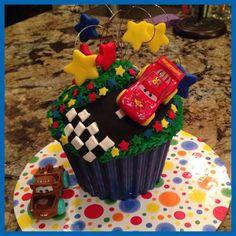 Matthew's homemade Cars Giant Cupcake!