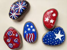Image result for fourth of july painted rocks