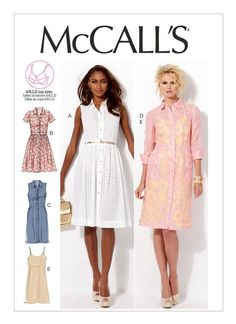 M6696 | McCall's Patterns Lace, Eyelet, Organza, Novelty Sheers. B, C: Cotton Blends, Broadcloth, Chambray, Poplin. E: Charmeuse, Crepe de Chine