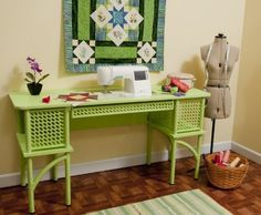"""Florie Sewing Table Finish: Pistachio by Arrow Sewing Cabinets. $599.99. She will arrive in 2 separate boxes needing a hammer, a screwdriver, a 17mm socket wrench and about 1 hours worth of time to assemble.. Florie comes in a classic white wicker( model # 1011) or a fun vibrant pistachio green (model # 1014) laminate.. Cabinet Dimensions: 60-1/4"""" wide x 20"""" deep x 30"""" high Will accommodate sewing machines no larger than 23-1/2"""" wide (left to right) x 12-1/8"""" deep (fron..."""