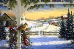 Country Christmas Shower Curtain - Bird and Snow Beautiful winter scene is the perfect Christmas shower curtain for your country themed bathroom. Christmas Scenery, Christmas Bird, Christmas Past, Vintage Christmas Cards, Country Christmas, Christmas Pictures, Winter Christmas, Christmas Landscape, Christmas Fireplace