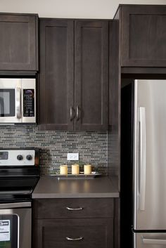 Grey Backsplash grey glass subway tile backsplash and white cabinet for small