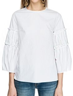 Pixie Market | Babydoll blouse with balloon sleeves with ruffle detailing