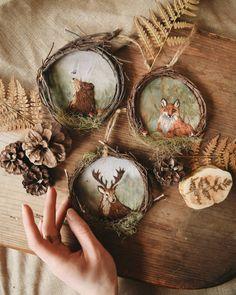 Forest embroidery by Ellen Tyn. Embroidery Art, Embroidery Patterns, Diy And Crafts, Arts And Crafts, Nature Crafts, Samhain, Textile Art, Creative, Christmas Bulbs
