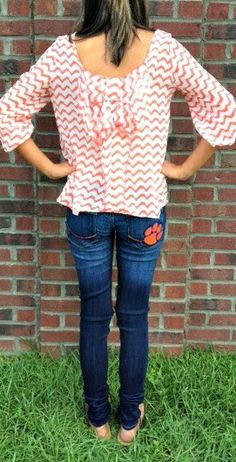 Clemson Girl Giveaway - Win a pair of Clemson skinny jeans from Football Belles...