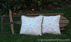 Pottery Barn Knockoff Embroidered Snowflake Pillows