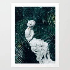 Statue with Palms Art Print
